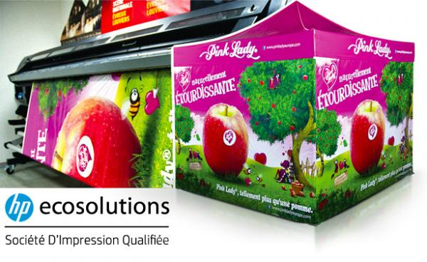 "Photo de l'imprimante ""HP ecosolutions"" imprimant un mur de tente Pink Lady"
