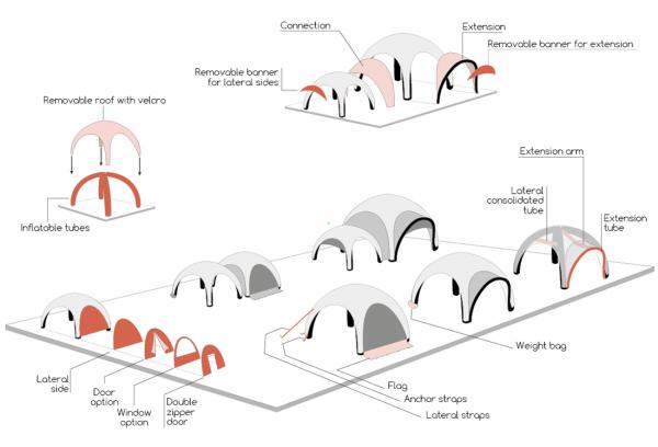 namiot ekspresowy dmuchany Airdome konfiguracja
