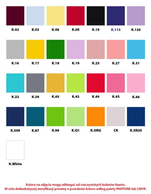 Kolorystyka materiałów leżaka